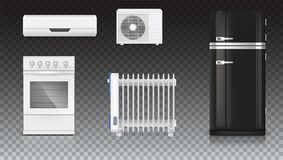Condicionamento de ar, radiador bonde do óleo, refrigerador com projeto retro, fogão de gás Dispositivos bondes home jogo Imagem de Stock