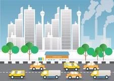 Condiciones de la contaminación atmosférica y del tráfico en el capital imagenes de archivo