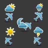 Condiciones de vuelo de los iconos Imagen de archivo
