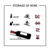 Condiciones del almacenamiento de larga duración del vino Iconos fijados ilustración del vector