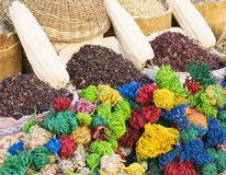 Condiment and ingredient concept. Dry herb hibiscus for tea in baskets. Arabic herbs on traditional bazaar. Natural organic herbs. Condiment and ingredient stock photo