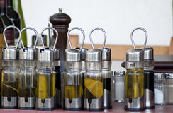 Condiment Set in Bottles Stock Images