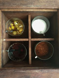 Condiment Set Sugar, vinegar, cayenne pepper and fish sauce for Thai noodle or padthai Royalty Free Stock Photo