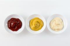 Condiment trzy Pucharu Fotografia Stock