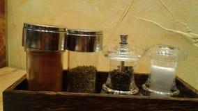 Condimentación en las botellas de cristal Imagen de archivo libre de regalías