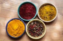 Condimenti appetitosi differenti nei piatti dell'inceppamento Fotografie Stock