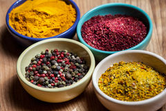 Condimenti appetitosi differenti nei piatti dell'inceppamento Immagine Stock