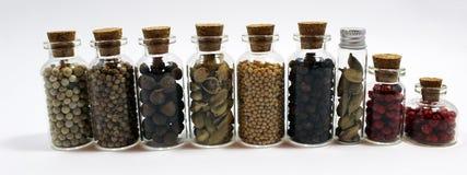 Condimenti in barattoli minuscoli Fotografie Stock