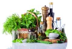 Condimento e spezie dell'alimento su fondo bianco Fotografia Stock