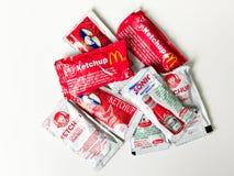 Condimentos da corrente de restaurante do fast food Foto de Stock