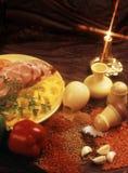 Condimentos para la preparación de los platos de la carne Fotografía de archivo libre de regalías