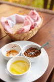 Condiments and bread Stock Image