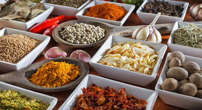 Condiments. Colorful herbs and spices selection. Aromatic ingredients on wood table Royalty Free Stock Photos