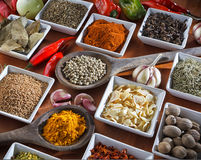 Condiments. Colorful herbs and spices selection. Aromatic ingredients on wood table Stock Photography