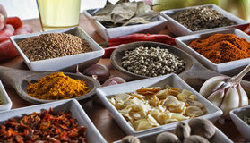 Condiments. Colorful herbs and spices selection. Aromatic ingredients on wood table Royalty Free Stock Image