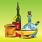 Condiments cooking oil and salt. Herbs and spices. Cooking food. Vector line art illustration Stock Images