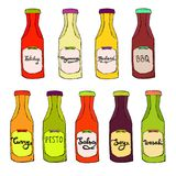 Condiments set. Ketchup bottle, Mayonnaise jar, BBQ, Curry, Salsa, Pesto,. Soy, Wasabi dressings. Vector colorful cooking collection. Hand drawn artistic sketch Royalty Free Stock Photos