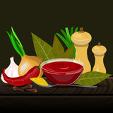 Condiments and spices vector illustration. Royalty Free Stock Photo