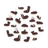 Condisca la raccolta delle scarpe, schizzo per la vostra progettazione Immagine Stock