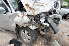 The condition of the car was demolished. After the accident collided violently Stock Image