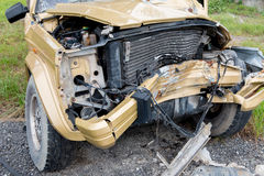 The condition of the car was demolished. After the accident collided violently Royalty Free Stock Photos