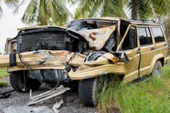 The condition of the car was demolished. After the accident collided violently Stock Images