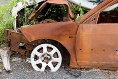 The condition of the car was demolished. After the accident collided violently Stock Photos
