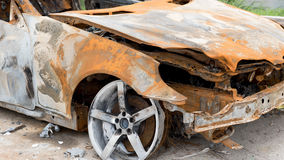The condition of the car was demolished after the accident Royalty Free Stock Photos