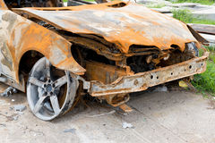 The condition of the car was demolished after the accident Stock Photos