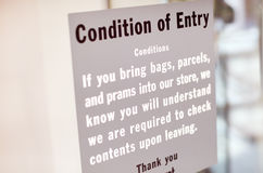 Condition of Entry Royalty Free Stock Photography