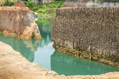 Condition of the erosion as the cliff by human Royalty Free Stock Photos