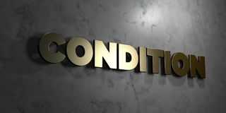 Condition - Gold sign mounted on glossy marble wall  - 3D rendered royalty free stock illustration Royalty Free Stock Photo