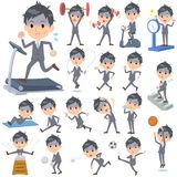Condition_Sports et exercice de Gray Suit Businessman Bad Illustration Stock