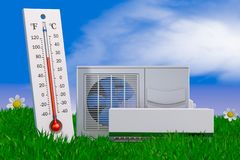 Conditioner and thermomete. Air conditioning and thermometer on grass. 3d rendering Stock Images
