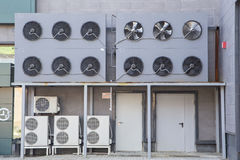 Conditioners and external system of store refrigeration Stock Photos