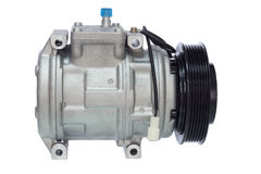 Conditioning compressor. Air conditioning compressor for different car engines Royalty Free Stock Photo
