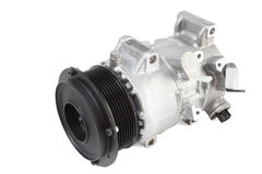 Conditioning compressor. Different air conditioning compressor for different car engines Stock Image