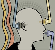 Conditioning. Person with devices by ears, eyes and mouth Royalty Free Stock Images