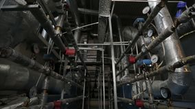 Conditioning and ventilation system in the sports complex. Valves and sensors in the system of ventilation and cooling, conditioning and ventilation system in stock footage