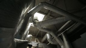 Conditioning and ventilation system. Valves and sensors in the system of ventilation and cooling, conditioning and ventilation system in the sports complex stock footage