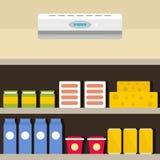 Conditionneur au fond de boutique, style plat illustration stock