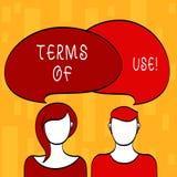 Conditions d'utilisation des textes d'écriture La signification de concept a établi des conditions pour l'usage de quelque chose  illustration libre de droits