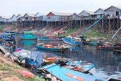 Conditions de vie antihygiéniques sur la sève de Tonle de lac Photographie stock
