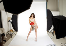 Conditions of work in the studio, a professional model posing in Stock Photography
