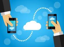 Condivisione di dati del telefono cellulare con la nuvola di Internet Immagine Stock Libera da Diritti