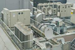 Condizionamento d'aria e sistemi di ventilazione d'acciaio industriali Fotografia Stock