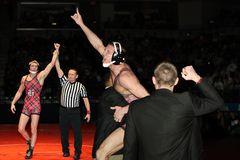 Condizione 2010 dell'Indiana HS che lotta un campione dalle 152 libbre. Fotografia Stock