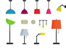 Condizione alla moda variopinta, parete, scrittorio, insieme della lampada del soffitto illustrazione vettoriale