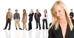 Condizione bionda della donna di affari Immagini Stock Libere da Diritti