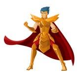Condizione corazzata del cavaliere dell'eroe di anime potente Immagine Stock